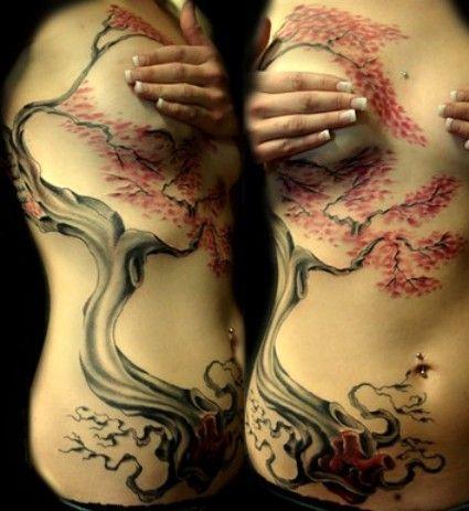drzewo tatuaż dla kobiety