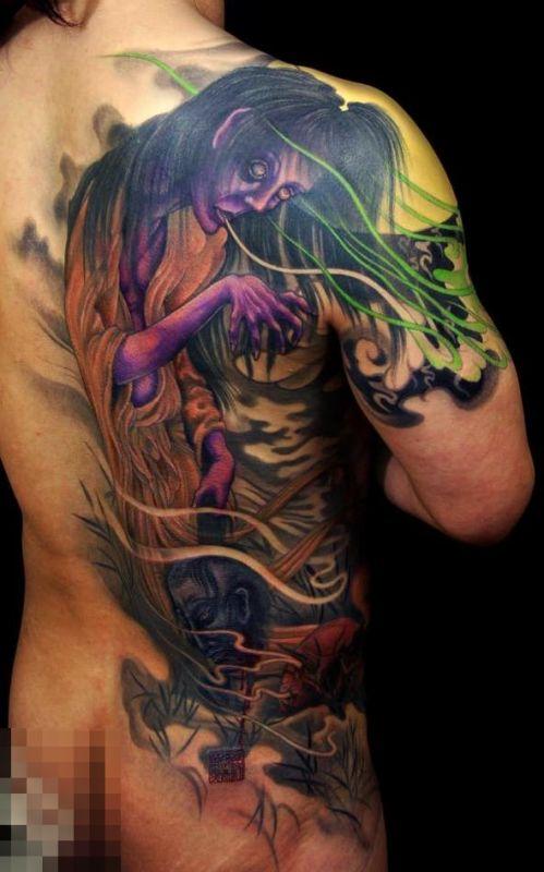 Kolorowe Tatuaże Na Plecachdemon