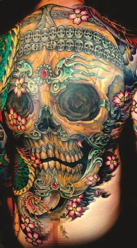 tatuaż czaszka na plecach
