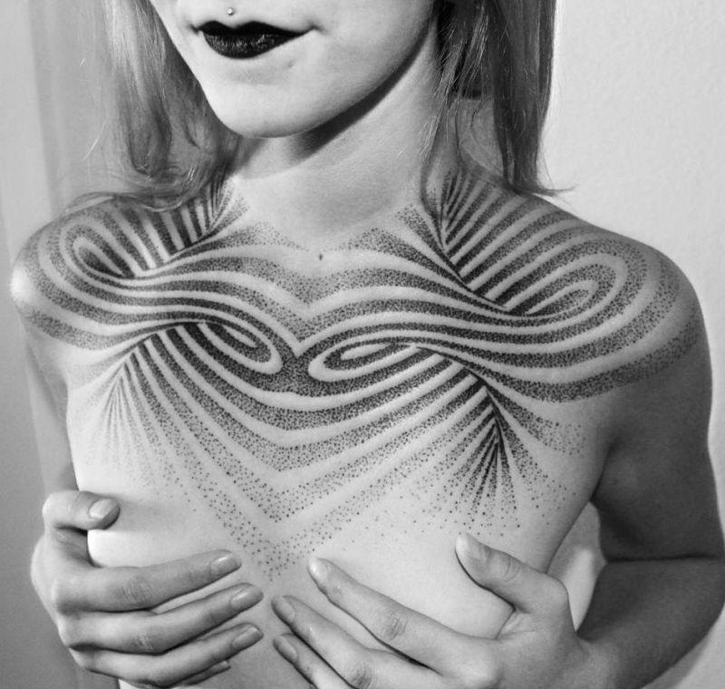 linie spirale tatuaże 3d