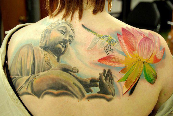 budda i kwiat, tatuaże