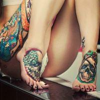 czaszki tatuaże na stopach