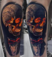 czaszka z muszką tatuaże 3d
