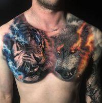 tygrys i wilk - niesamowite tatuaże