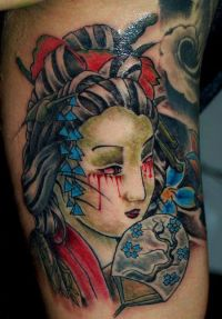 geisha, japoński tatuaż
