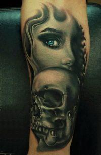 kobiety twarze czaszki tatuaże