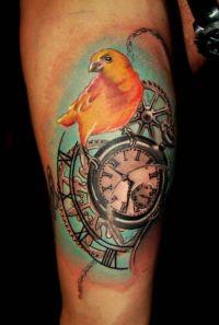 ptak na zegarze