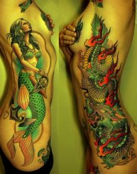 syrena i smok tatuaże na żebrach