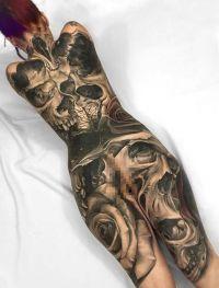 duże tatuaże czaszki na całym ciele