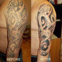 wąż i kwiat, tatuaż na ręce