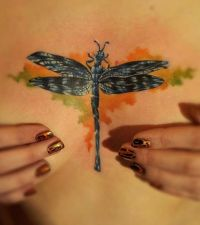 ważka tatuaż między piersiami